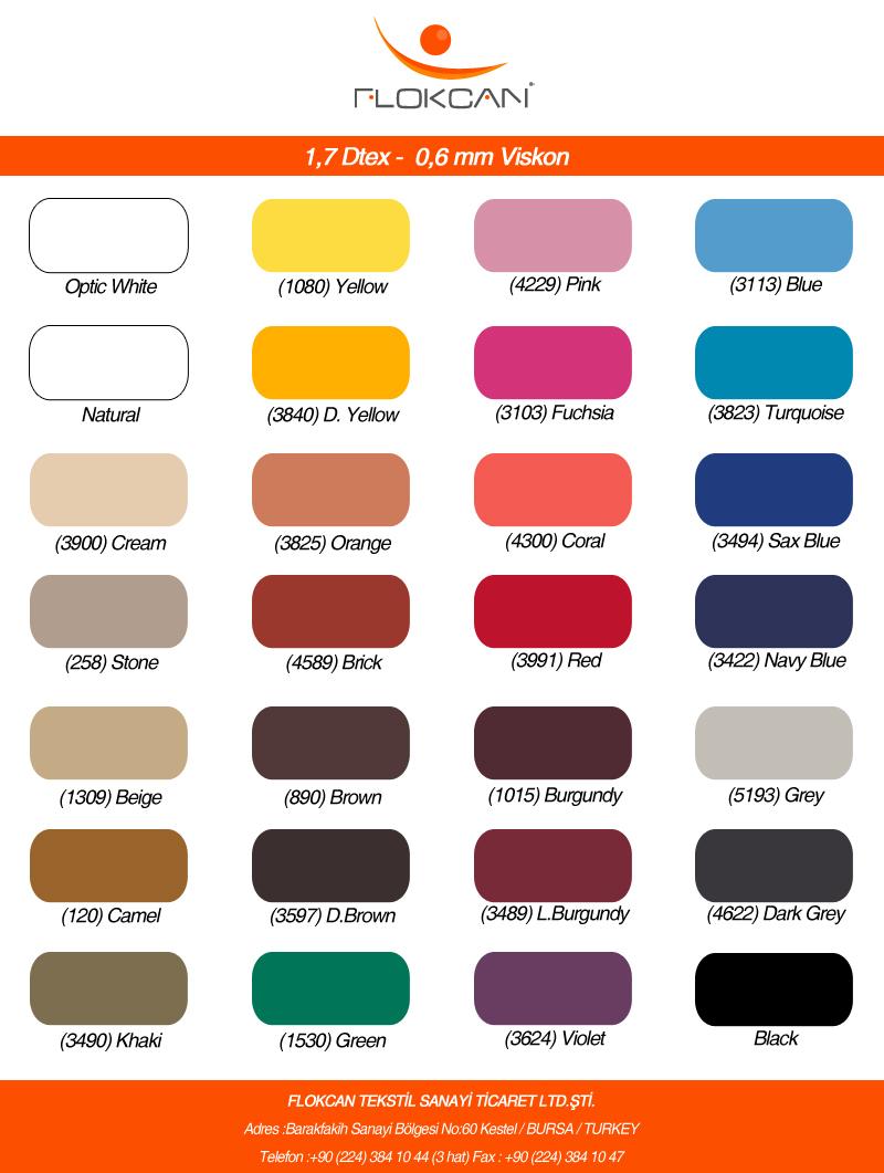 Renk Kartelası Flokcan Tekstilflokcan Tekstil